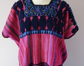 "Chiapas huipil  blouse red stripe embroidered Mayan Chenalho handwoven black boho Frida Kahlo 34""w x 23""L"