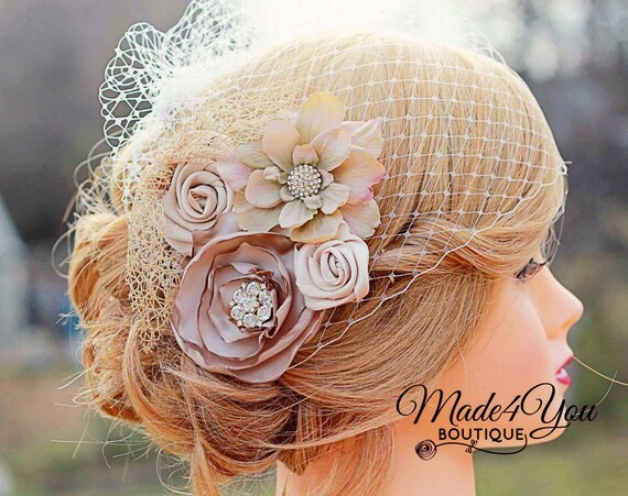 Champagne Birdcage Veil Gold And Champagne Bridal