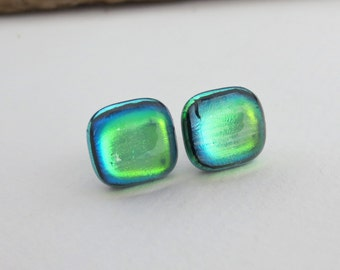 Sensitive Ears Titanium Post  12/13mm Green Gold Glow Square Dichroic Glass Stud Earrings Hypoallergenic