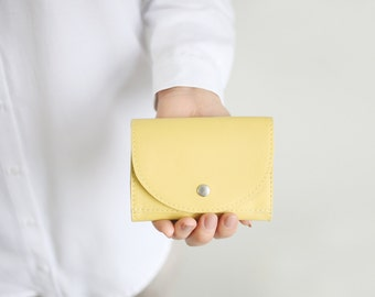Small Wallet Pale Lemon Leather,  flat womens wallet, small leather purse