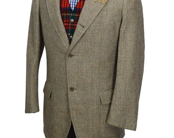 Brooks Brothers Men's 40R Tan Three Button Preppy Tweed Sport Coat - Already Dry Cleaned
