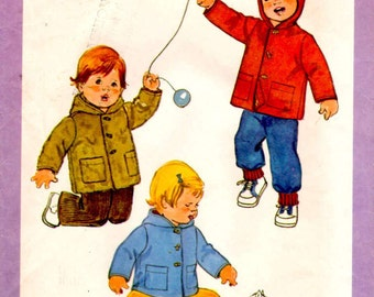 1978 Simplicity 8815 Size 1 Toddler Hooded Lined Coat Sewing Pattern Supply Mod 70 Hooded Coat Toddler Jacket Patch Pockets Winter Coat FF