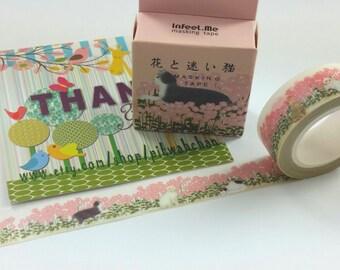 Cat & Flower Washi Tape (7M)