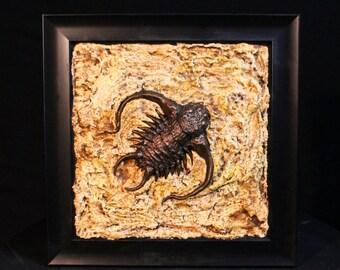 Framed Bronze Trilobite Bug Monster Sculpture Wall Hanger