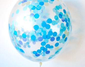 Confetti Balloon Blue and Gold | Confetti Filled Balloon | Birthday Balloons | Baby Shower Balloons | Tissue Paper Confetti Clear Balloon