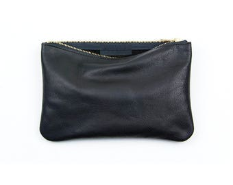 JANE Black Leather Clutch. Black Leather Pouch. Simple Leather Clutch. Black Leather Makeup Bag