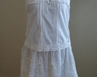BOHO Dress-White with Pastel Vintage Buttons-Junk Gypsy-Altered Clothing-Size Small/Medium