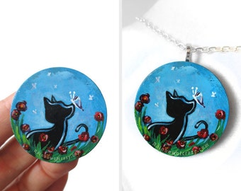 Black Cat, Flower Necklace, Pet Painting, Poppy Jewelry, Hand Painted Wood Pendant, Memorial Art, Keepsake Gift for Her, Animal Lover