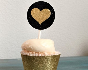 Cupcake Toppers, 12 Gold Heart Toppers, Gold and Black Cupcake Toppers, Black and Gold Glitter, Neutral Baby Shower Decorations, SET OF 12
