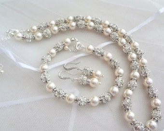 Blush pearl jewelry set, Swarovski pearl and crystal set,3 piece pearl set,Pearl necklace,Bracelet and Earrings set,Wedding jewelry, FROSTED