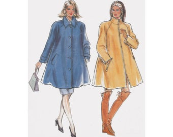 Swing Coat Sewing Pattern Burda 4654 Size 10 to 20 Bust 33-41 Zipper or Button Front with High Collar Raglan Sleeves Saddle Stitching
