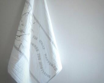 Mistletoe Baby Quilt, Stroller Blanket, Modern Crib Quilt, Marimekko, Silver Gray White Embroidery, Christmas Gift, Girls Boys New Parents