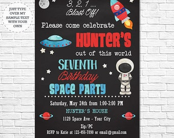 Space Birthday Invitation - Astronaut Invitation - Space Birthday Party - Instantly Download and Personalize in Adobe Reader at home