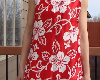 red and white SATEEN HAWAIIAN SHIFT cotton mini dress summer hibiscus S M