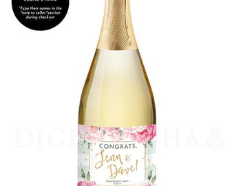 Personalized Engagement Gift CHAMPAGNE LABEL Newlyweds Gift Engagement Gift for Couples Congrats You're Engaged Engagement Party Gift - Jenn