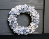 Seashell wreath - 8.5 inches - blue shell wreath - beach decor - coastal decor