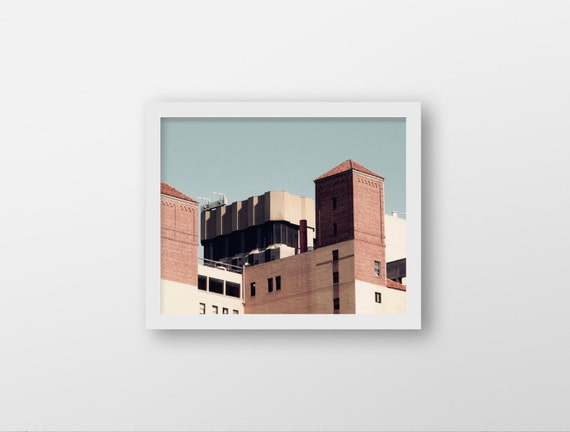 REALITY SHIFT | Modern urban photography | architecture photo print | blue and brown home decor | office wall art | retro inspired art print