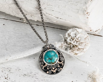 Bohemian Necklace, Statment Necklace, Silver Turquoise, Turquoise Necklace, Gold Turquoise, Womens gifts, Bold Necklace, Israeli Jewelry
