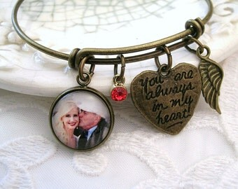 Memory Photo Bracelet Always in My Heart Memory Charm Brass Bracelet Bronze Bangle Bracelet ADD Angel Wing, Handwriting charm, Heart Charm