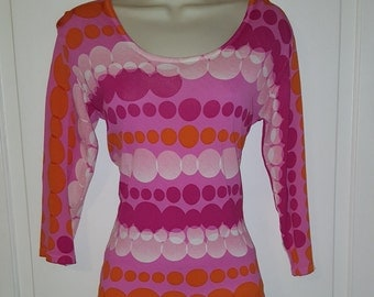 BUBBLES JOSEPH A. TOP // 90's Pink and Orange Shirt 3/4 Sleeves Size Small Qu'est-ce Que C'est Silk