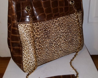 LJ SIMONE PURSE // 80's New York Brown Croc Embossed Leather Leopard Pony Hair Fur Purse Tote Bag 90's Gold Chain Link