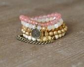 The Sunny Stack - Beaded Stretch Bracelet Stack - Rose Quartz Bracelet - Wood Bead Bracelet - Arm Candy Bracelets - Charm Bracelet Set