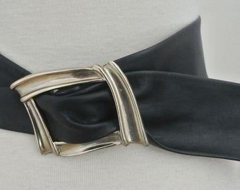 """vtg JULIETTE WAIST WEAR Navy Blue leather Sash belt S M 2 3/8"""" wide"""
