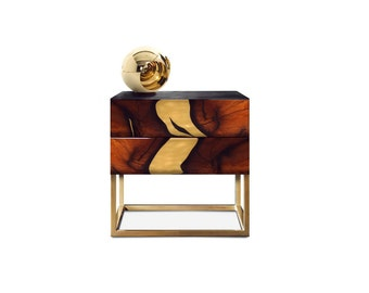 Bedside Table OXARA. Bedroom table. Luxury furniture. Handmade furniture. Inlay furniture. Brass. High gloss