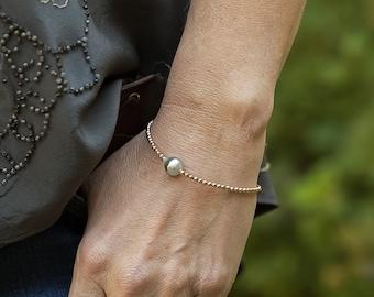 Pearl Bracelet, Tahitian Pearl Bracelet, Rose Gold Bracelet, Hematite Bracelet, Layering Bracelet, Beaded Bracelet, Stacking Bracelet, Boho