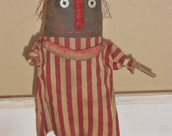 Primitive Black Doll-Primitive Americana Doll-Primitive Watermelon-Summer Decoration--tbu 844