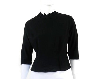 Mod Black Blouse Velvet Diamond Collar with Bead and Back Buttons by Claret Vintage Clothing