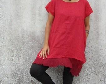 Oversize tunic ~ Shift dress ~ Felt  n Cotton ~ T-shirt ~ Minimalistic top ~ Zen fashion ~ Elfnfelt