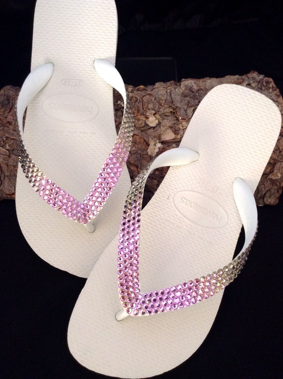 Purple Flip Flops Havaianas flat or Wedge Heel Bride Wedding Bling w/ Swarovski Vintage Vitrail Lilac Lavender gems Crystal Rhinestone Shoes