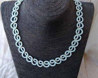 Baby blue tatted lace necklace ,  frivolite , lace necklace , tatted jewelry , statement necklace