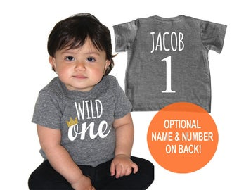Wild One Tri Blend Baby First Birthday T-Shirt - Infant Boy and Girl Tee