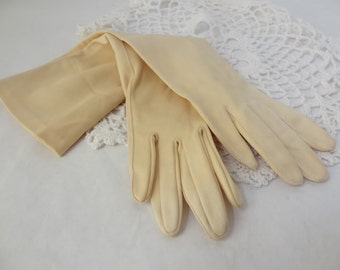 Long cream gloves vintage satin elbow length opera gloves small shabby chic display