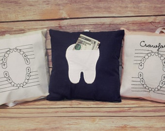 Embroidered Personalized Tooth Fairy Pillow with applique tooth pocket on back