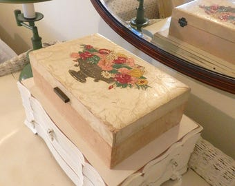 Vintage Jewelry Boxes. 1950s Southern Cottage Home Decor. Shabby Chic