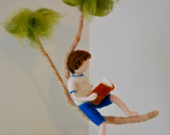 Boys Room Decor  needle felted ornament: Boy reading a book in a branch