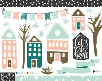 Christmas digital download clipart in peach pink, frosty blue.  Let's stay home calligraphy, houses, trees with snow, bunting and banner.