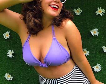 Chloe High Waist Purple and Striped Bikini with Triangle Top