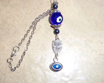 Owl Rear View Mirror Car Charm, Gemstone Charm, Blue Mirror Charm, Car Charm, Evil Eye Charm, Car Accessories New Car Gift, Wiccan Owl Charm