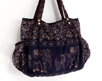 Women bag Handbags Thai Cotton bag Elephant bag Hippie bag Hobo bag Boho bag Shoulder bag Tote bag Diaper bag Everyday bag Purse Navy Blue