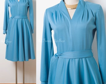 Vintage Blue Dress, 60s dress, Mad Men Dress, Vintage Formal Dress, 60s Knit dress, Vintage Party Dress, Vintage Holiday Dress - S/M
