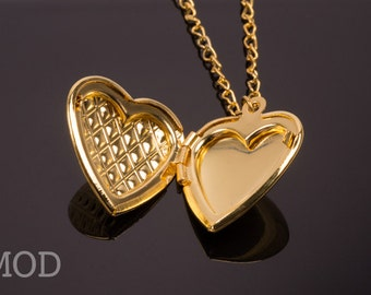 Gold Heart Locket, Gold Heart necklace, vintage inspired necklace, Handmade necklace, vintage style necklace