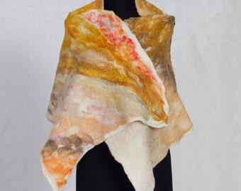 Cozy blanket wrap / Merino wool shawl / Wet felted scarf Wool poncho Nuno felted scarf Boho wrap, Wool wrap coat, Blanket shawl Merino scarf