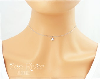 Choose silver or gold starfish choker. Tiny silver starfish choker necklace. Elegant and dainty choker necklace