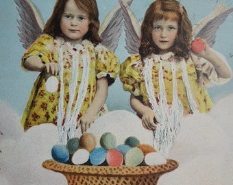 Little Girls With Easter Eggs, Angels, Vintage Postcard, 1904