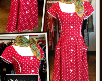 Vintage Red & White Print Cotton Dress Pockets FREE SHIPPING