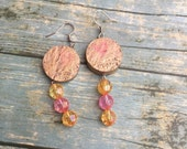 Beaded earrings - Wine co...